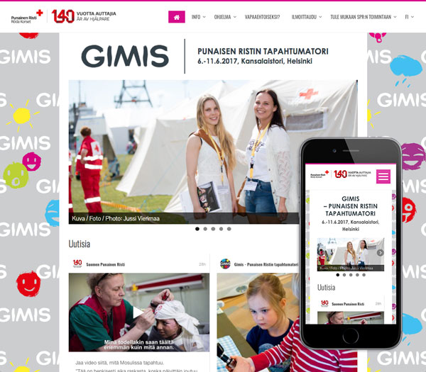GIMIS-tapahtumakotisivut, etusivu