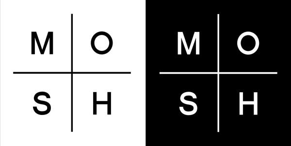 MOSH Jewelryn logo, musta ja valkoinen versio