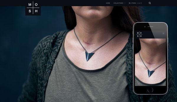 MOSH Jewelry -kotisivut ja verkkokauppa