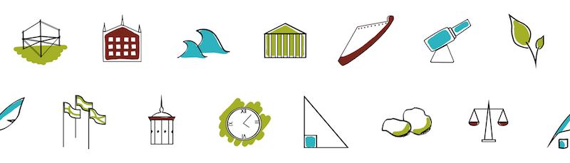 14 ikonia, jotka luotiin kuvittamaan uutta maailmanperintökasvatus-osiota.