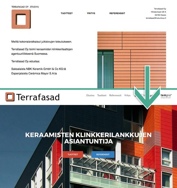 Terrafasad-kotisivut, muutos