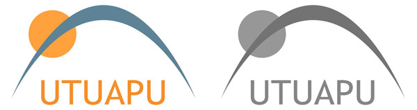 Utuapu-logo, värillinen ja mustavalkoinen versio